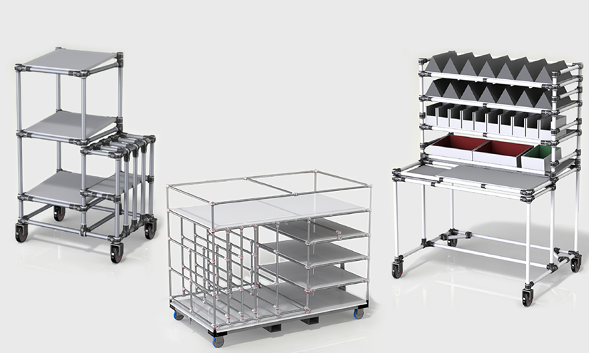 A RANGE OF KITTING TROLLEYS